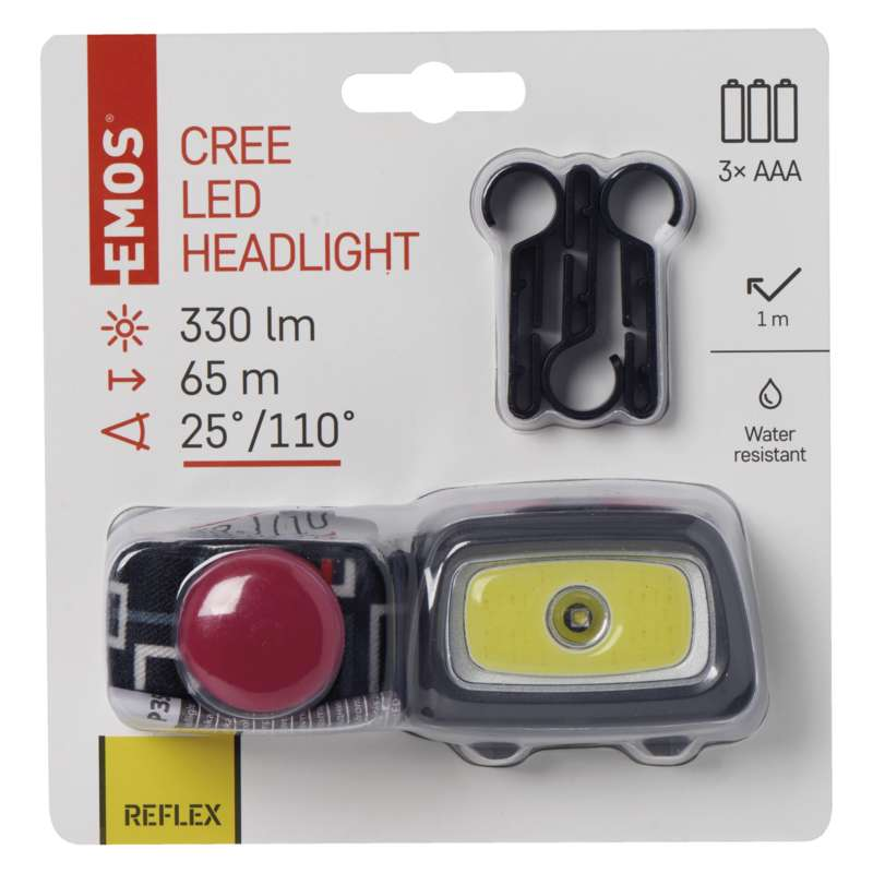Čelovka EMOS 1x COB + 1x CREE LED, 330lm, sada