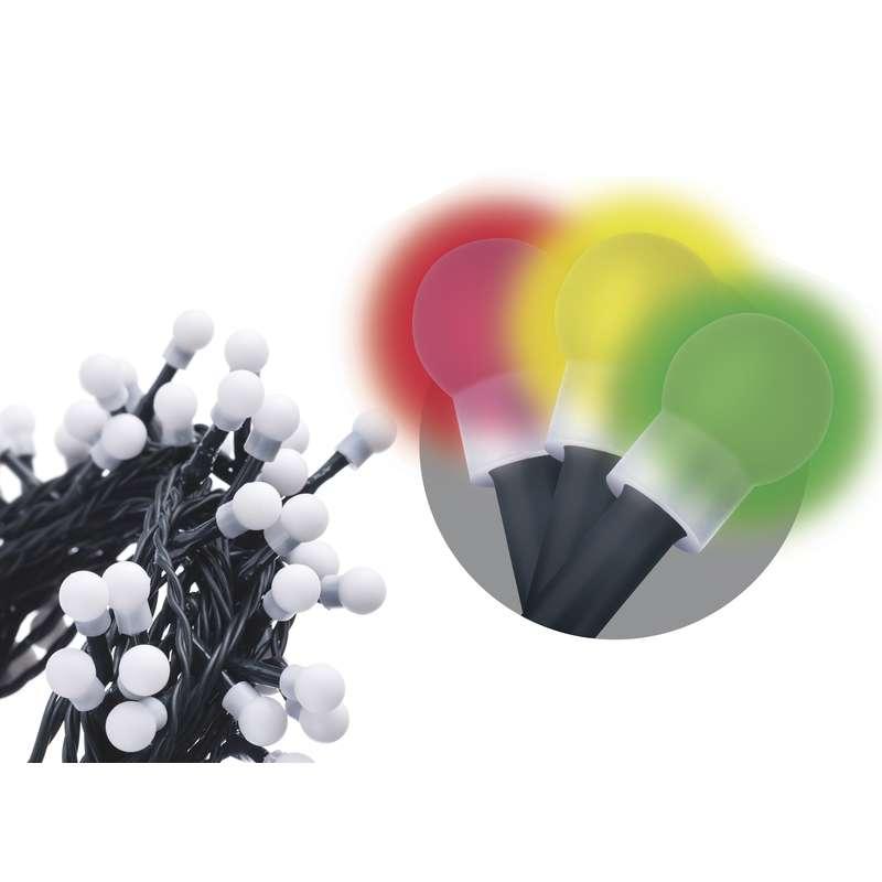 LED vánoční řetěz 300 LED, 30m, přívod 5m, IP44, kulička, barevná, EMOS