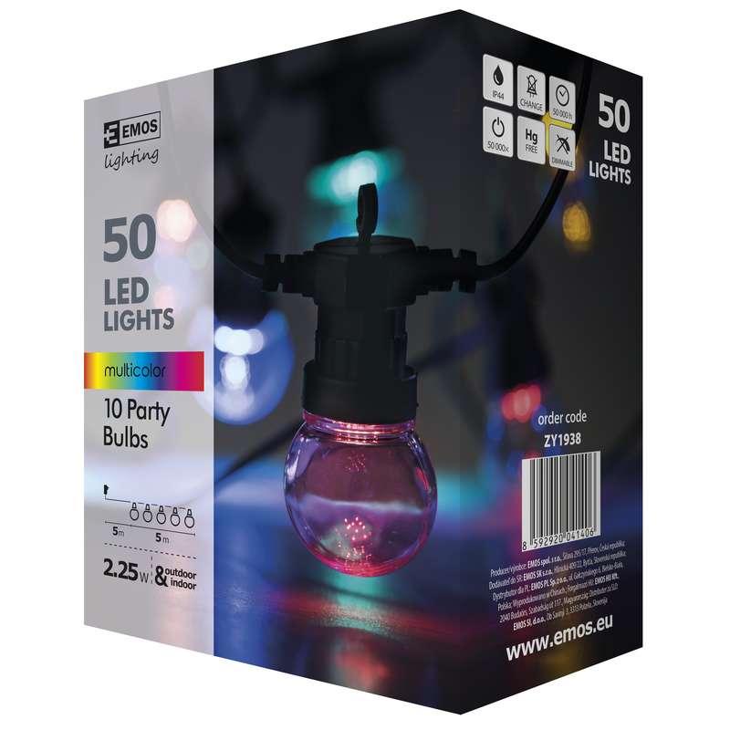 LED řetěz - párty žárovky, 5m, IP44, multicolor, EMOS