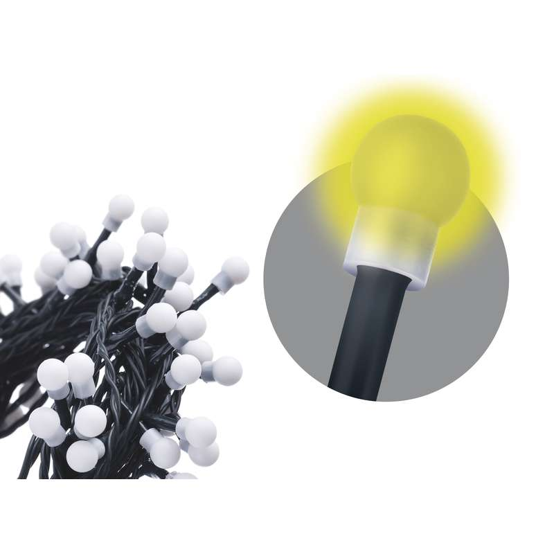 LED vánoční řetěz 200 LED, 10m, přívod 1,2m, IP20, kulička, teplá bílá, EMOS