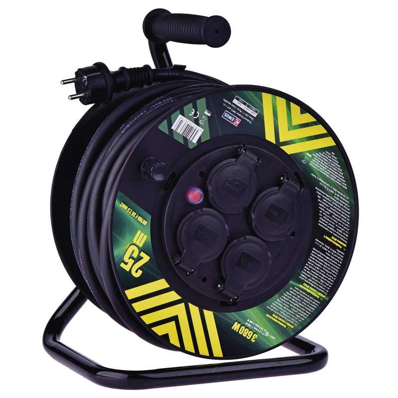 Profi prodlužovací kabel na bubnu 25m, 4 zásuvky, 3 x 2,5mm, guma