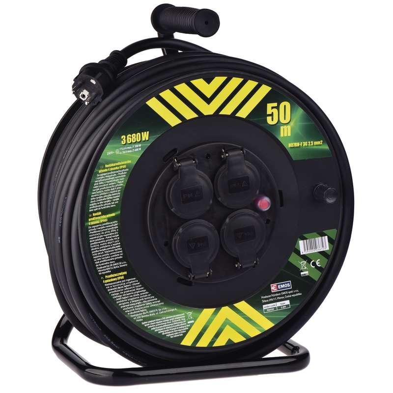 Profi prodlužovací kabel na bubnu 50m 4 zásuvky, 3x 2,5mm, guma