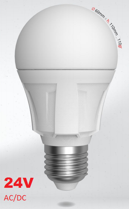 LED žárovka 10W 24V (lze i 12V) E27 SKYLIGHTING, studená bílá