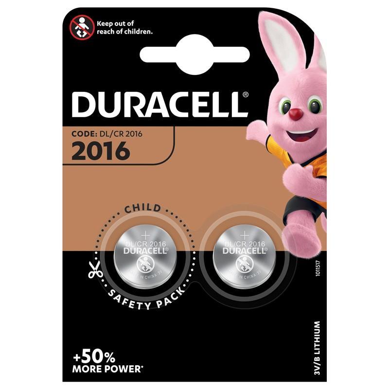 Baterie CR2016 DURACELL, 2 ks (blistr)