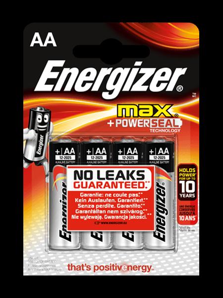 Baterie AA/LR6 ENERGIZER MAX + PowerSeal, 4 ks (blistr)