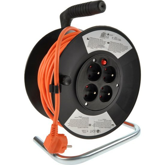 Prodlužovací kabel na bubnu 50m, 4 zásuvky, průřez 3x1,5mm2, SOLIGHT