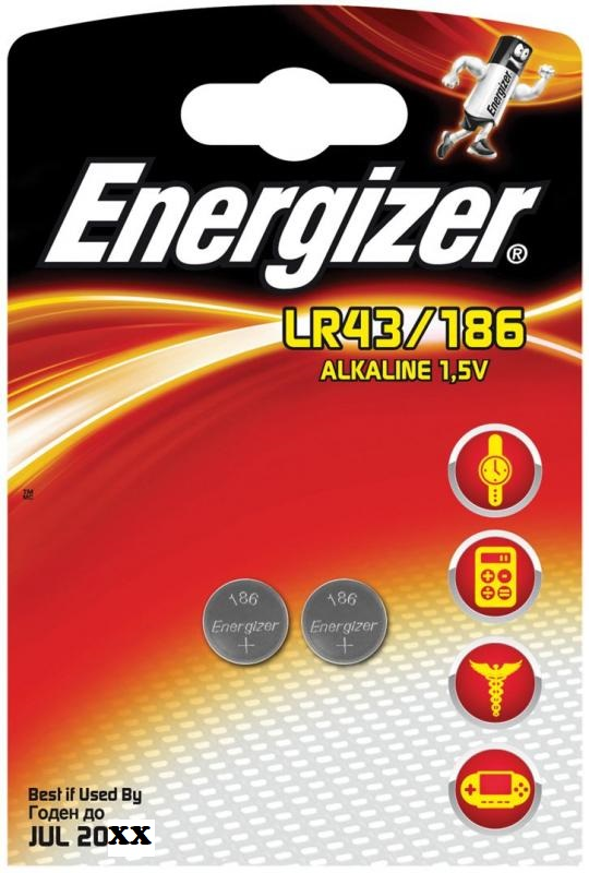 Baterie LR43/186 ENERGIZER, 2 ks (blistr)