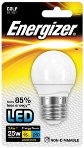 LED mini globe 3,4W (25W) E27, ENERGIZER, teplá bílá