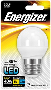 LED mini globe 5,9W (40W) E27, ENERGIZER, teplá bílá
