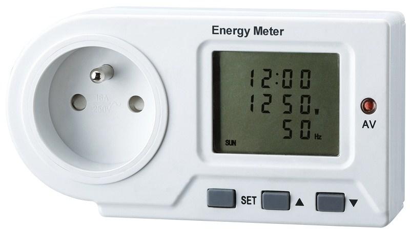 Solight digitální měřič spotřeby el. energie, velký displej, LED indikace