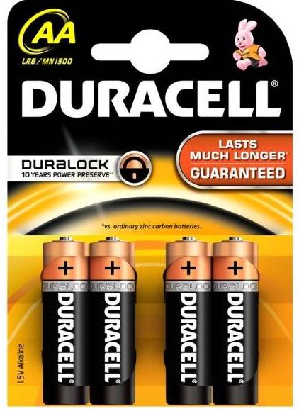 Baterie Duracell AA LR6 4 ks (blistr)