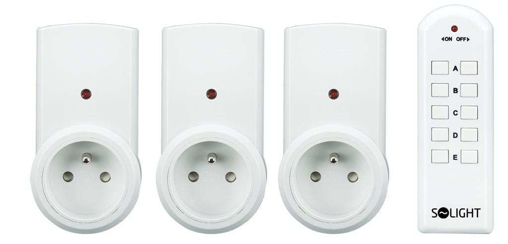 Solight dálkově ovládané zásuvky, 3 zásuvky, 1 ovladač