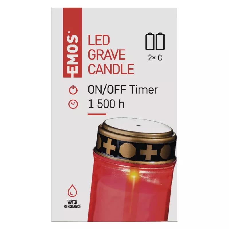 Svíčka hřbitovní LED na 2xC, s časovačem, EMOS