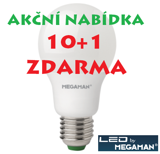 LED žárovka 11W (75W) E27 MEGAMAN, teplá bílá, AKCE 10+1