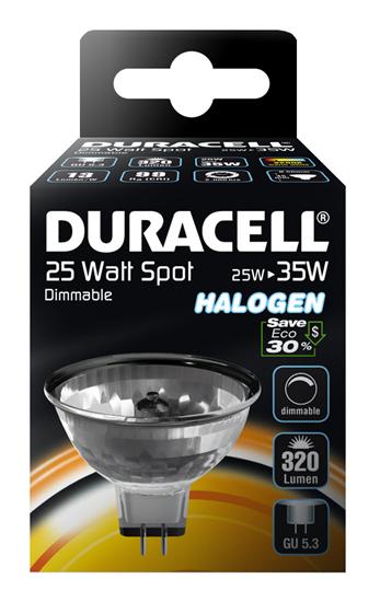 Halogenová žárovka 25W (35W) GU5,3 MR16 , DURACELL ECO bodovka