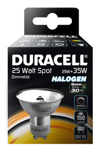 Halogenová žárovka 25W (35W) GU10, DURACELL ECO, bodovka