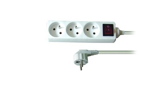 Solight prodlužovací přívod, 3 zásuvky, bílý, vypínač, 5m
