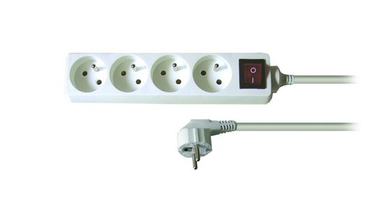 Solight prodlužovací přívod, 4 zásuvky, bílý, vypínač, 1,5m