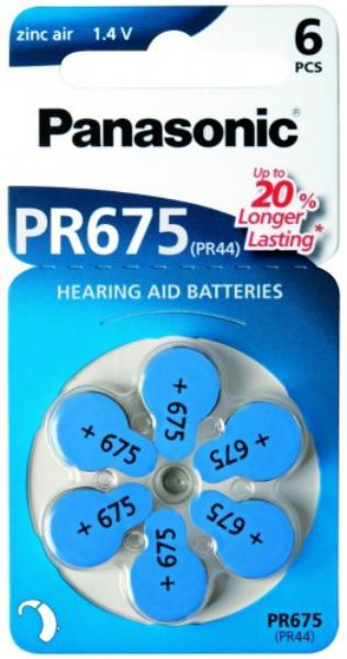 Baterie PANASONIC PR 675 6 ks (blistr)