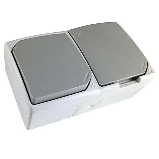 Solight vypínač + zásuvka do vlhka IP54, combo, vypínač č. 1 jednopólový, šedý