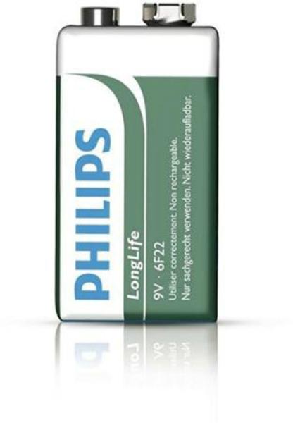 Baterie 9V Philips Long Life,1 ks (shrink)