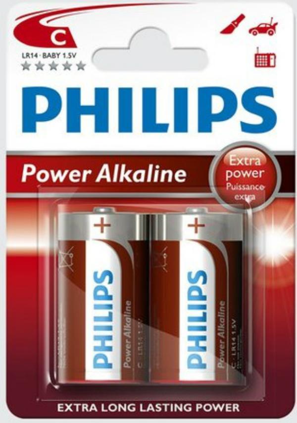 Baterie Philips PowerLife LR14 C 2 ks (blistr), MN1400, alkalický malý monočlánek