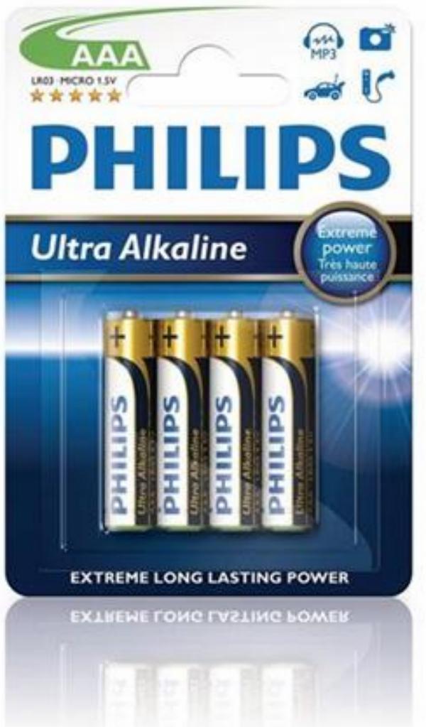 Baterie AAA/LR03 PHILIPS Ultra Alkaline, 4 ks (blistr)
