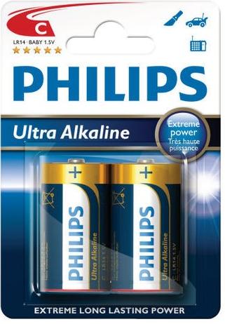 Baterie Philips Ultra Alkaline LR14 C 2 ks (blistr), MN1400, alkalický malý monočlánek