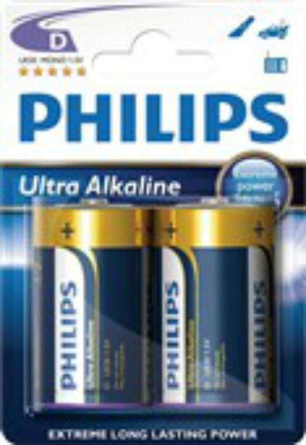 Baterie LR20/D PHILIPS Ultra Alkaline, 2 ks (blistr)
