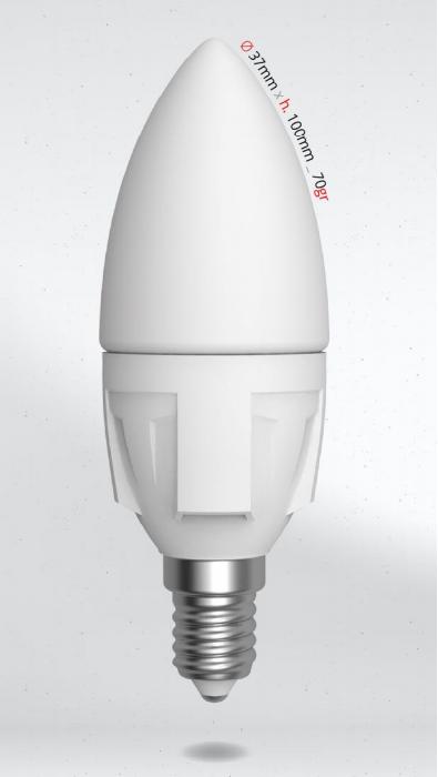LED svíčka 6W (45W) E14 SKYLIGHTING, teplá bílá