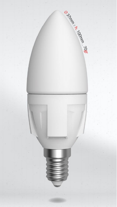 LED svíčka 6W (45W) E14 SKYLIGHTING, denní bílá
