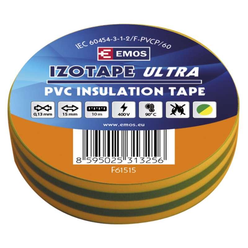 Izolační páska PVC 15mm/10m zelenožlutá
