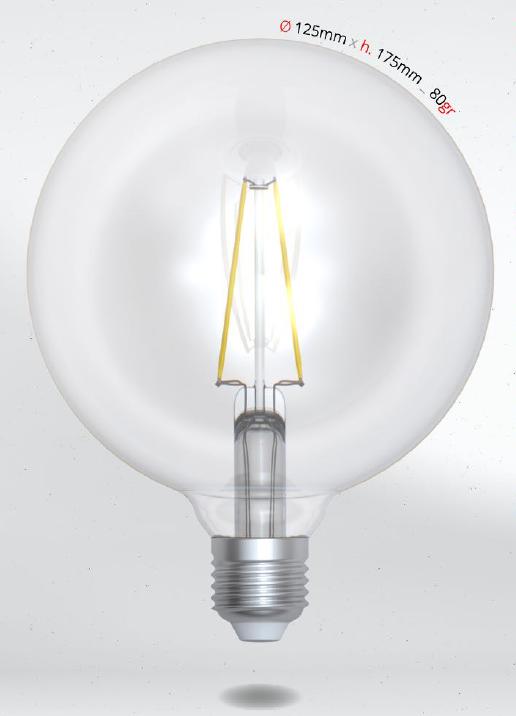 LED GLOBE 8W E27 G125 SKYLIGHTING, koule, denní bílá