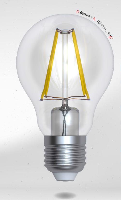 LED žárovka 6W (58W) E27 SKYLIGHTING, čirá, teplá bílá