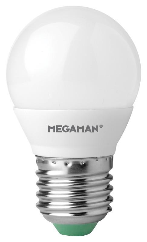 LED mini globe 5,5W (40W) E27, MEGAMAN, studená bílá