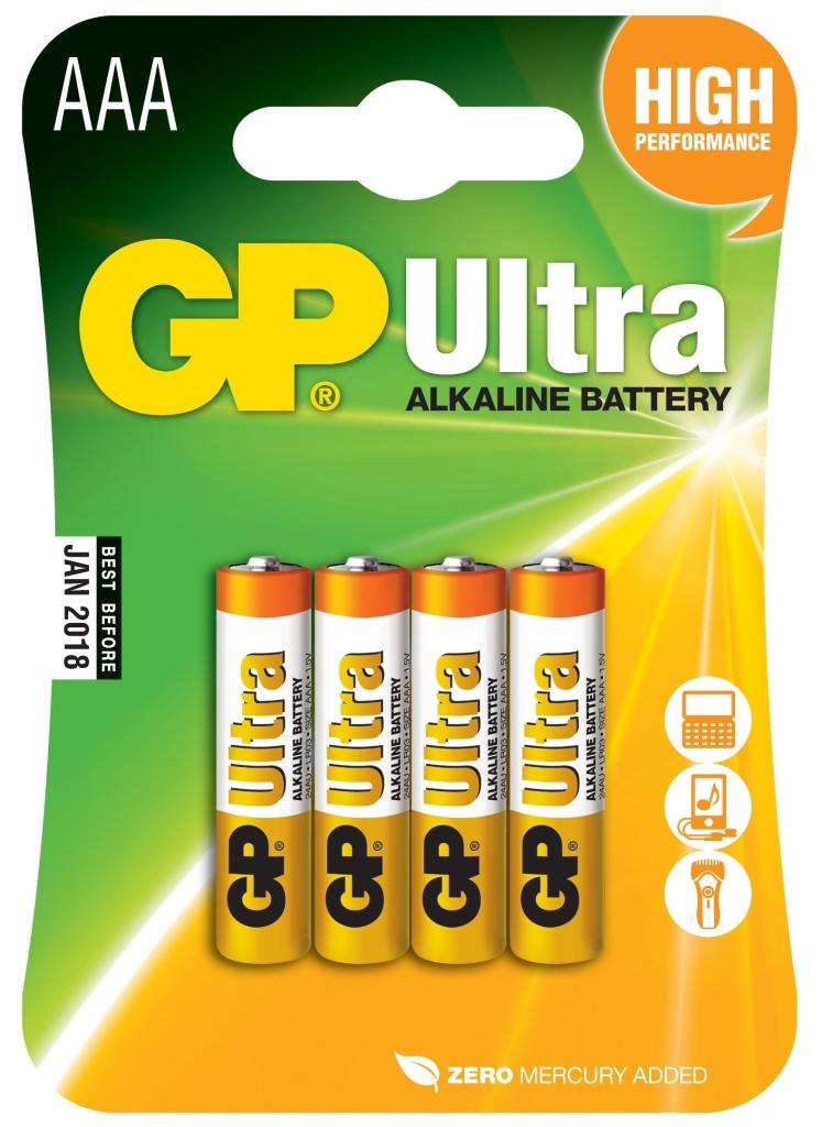 Baterie GP Ultra Alkaline AAA 4 ks (blistr), LR03, MN2400, alkalická mikrotužka