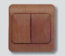 Spínač LYRA jednopólový, řazení 5, tmavé dřevo