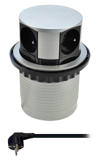 Prodlužovací kabel 4 zásuvky, stříbrný, 1,5m, výsuvný blok zásuvek, kruhový tvar, SOLIGHT