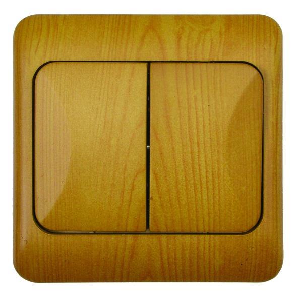 Spínač LYRA jednopólový, řazení 5, světlé dřevo
