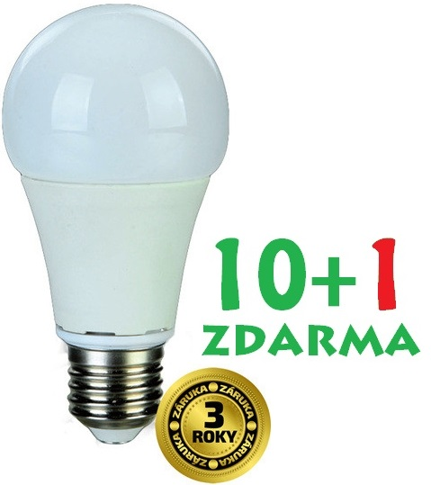 LED žárovka 10W (60W) E27 SOLIGHT, teplá bílá, AKCE 10+1