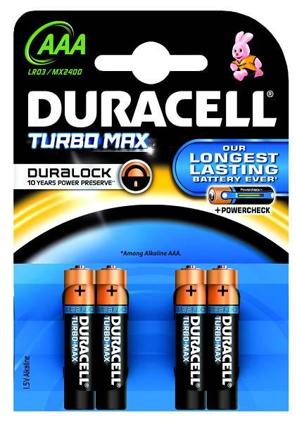 Baterie AAA/LR03 DURACELL TURBO MAX, 4 ks (blistr)