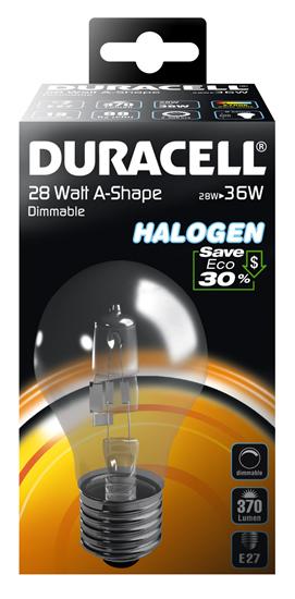 Halogenová žárovka 28W (36W) E27, DURACELL ECO