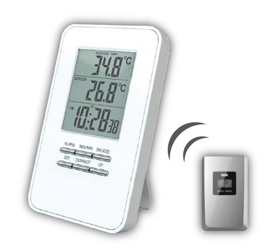 Solight bezdrátový teploměr, teplota, čas, budík, bílý