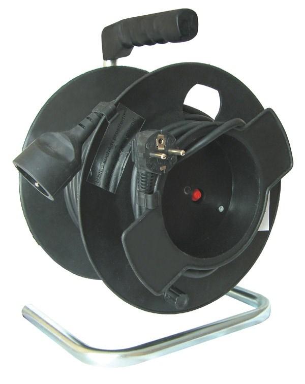 Solight prodlužovací přívod na bubnu, 1 zásuvka, černý kabel, černý buben, 20m