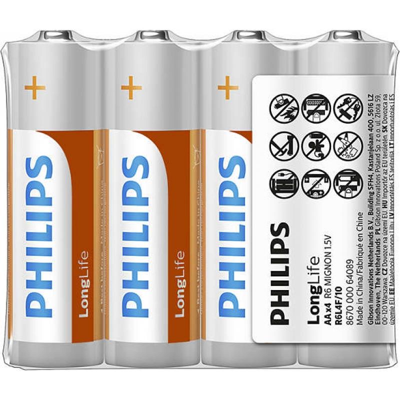 Baterie Philips Long Life AA 4 ks (shrink), R6