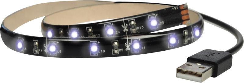Solight LED pásek pro TV, 2x60cm, USB, vypínač, studená bílá