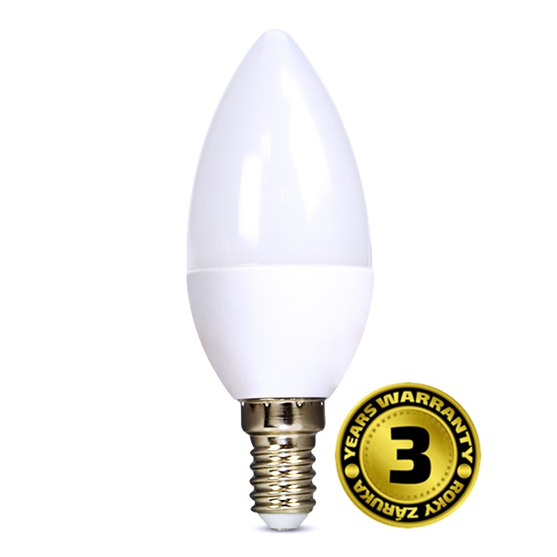 LED svíčka 6W (37W) E14 SOLIGHT, teplá bílá