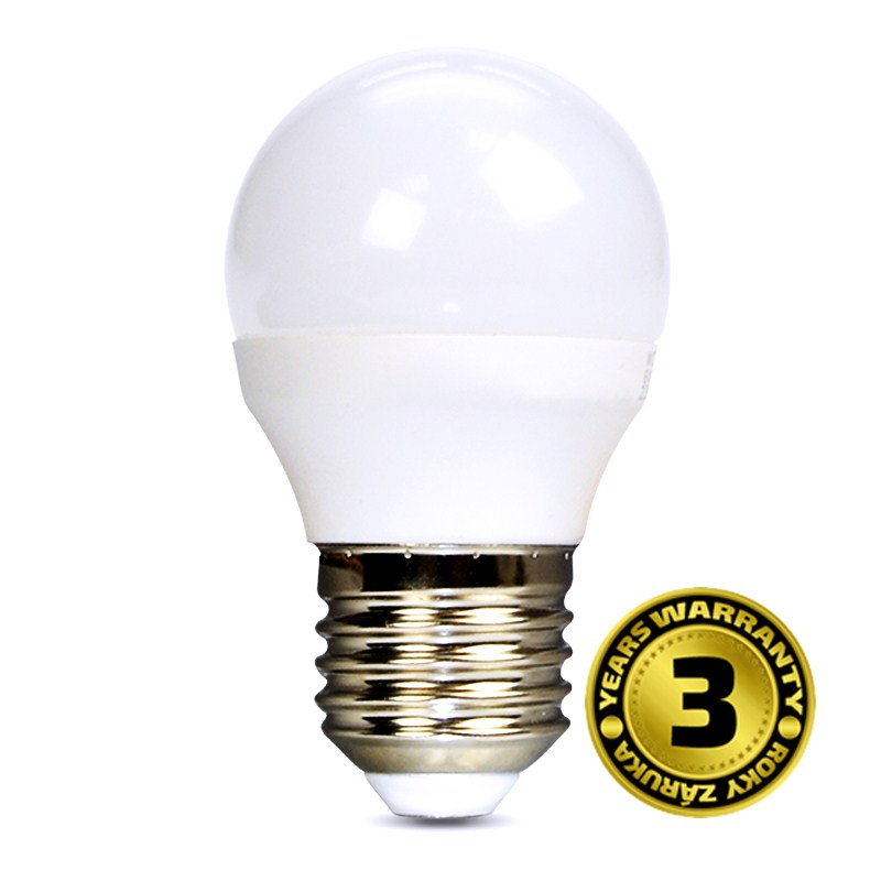 LED mini globe 6W (37W) E27, SOLIGHT, studená bílá